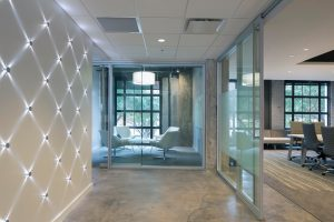 Beautiful entry shows the unique elements of Markstein's adaptive reuse project